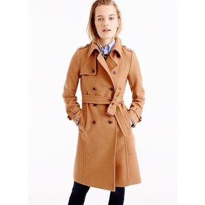 J crew camel wool cashmere Nello Gori trench coat